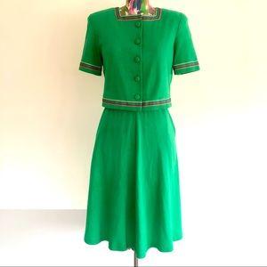 👒VINTAGE Green Knit Skirt Set